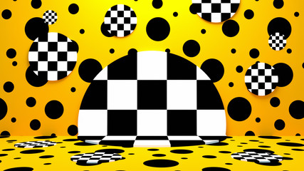 Yellow polka dot and checkered pattern room. 3d rendering picture.