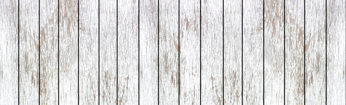 Panorama of White natural wood wall texture and background seamless