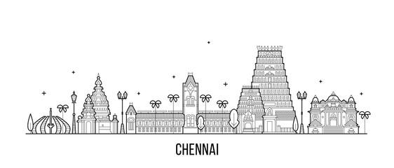 Fototapete - Chennai skyline Tamil Nadu India city vector line