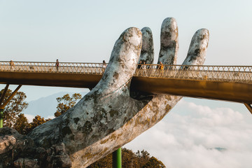 The Golden Bridge in the Ba Na Hills, supported by a pair of giant hands.Da nang ,Vietnam