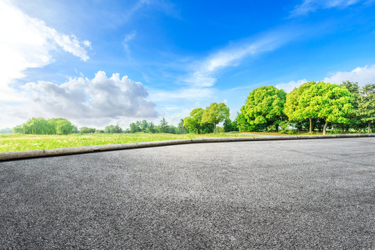 Asphalt road ground and green woods in the countryside nature park