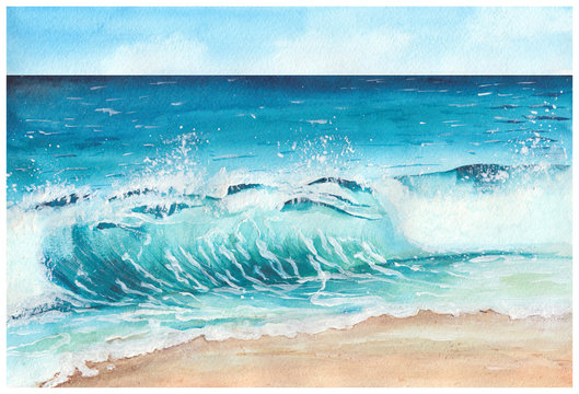 Summer tropical beach with golden sand and wave. Tropical sea with blue water. Hand drawn watercolor illustration