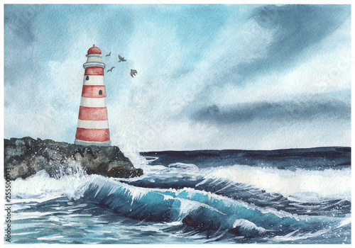 Lighthouse and the raging sea  Watercolor hand painted