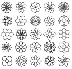 outline flower icon set, vector draw