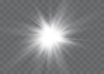 White glowing light explodes on a transparent background. Vector illustration of light decoration effect with ray. Fototapete