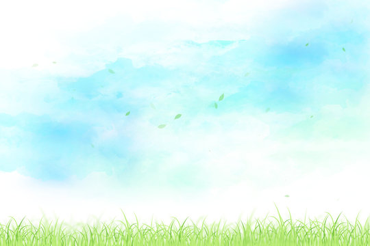 空と草原と舞い上がる葉(水彩タッチ)