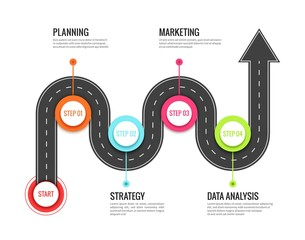 Road journey infographic. Trip directional map winding road, travel to success. Footpath way vector concept
