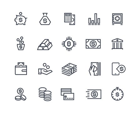 Finance line icons. Money business account, currency management finance audition money calculating. Business investment vector symbols