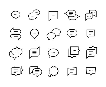 Speech bubble line icons. Talk chat thin conversation dialog symbols, voice message comic cloud. Vector social communication icon set