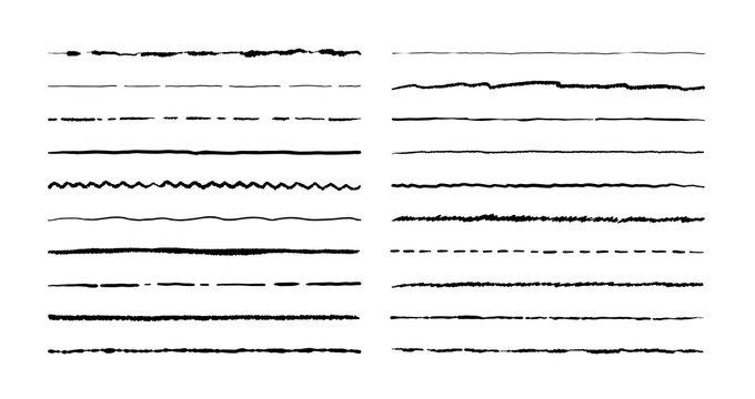 Hand drawn doodle lines. Pencil stroke underline sketch, pen grunge border set, cartoon frame elements. Vector doodle brush set