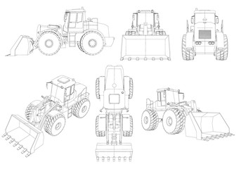 Set with contours of the bulldozer. 3D. Black line bulldozer isolated on white background. Bulldozer from different angles. Vector illustration