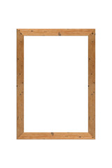 Old wood photo frame isolated