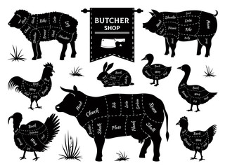 Butcher diagrams. Animal meat cuts, cow pig rabbit lamb rooster domestic animals silhouettes. Vector retro butcher shop logos set