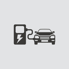 Car charging station icon isolated of flat style. Vector illustration.