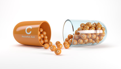 3d rendering of a vitamin capsule with vitamin C - ascorbic acid
