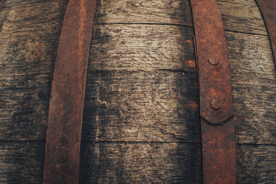 Old Wooden barrel background. Close up.