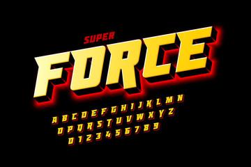 Fototapeta Comics style font design, super force, alphabet letters and numbers vector illustration
