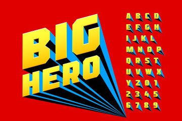 Comics style font design, superhero inspired alphabet, big hero, letters and numbers Papier Peint