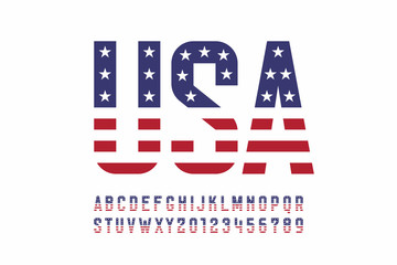 USA national flag style font, alphabet letters and numbers