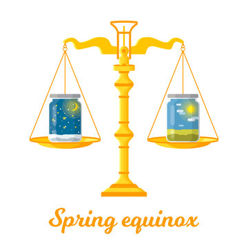 Vector flat illustration of the spring (vernal) equinox. Design concept with scales of justice symbolizing equal duration of daytime and nighttime.