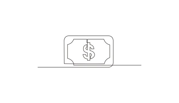 Continuous line drawing of dollar