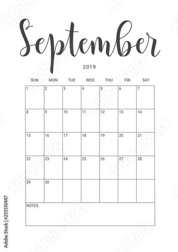 Calendar Planner September 2019.Vector Calendar Planner For September 2019 Handwritten Lettering