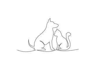 continuous line drawing of dog and cat vector