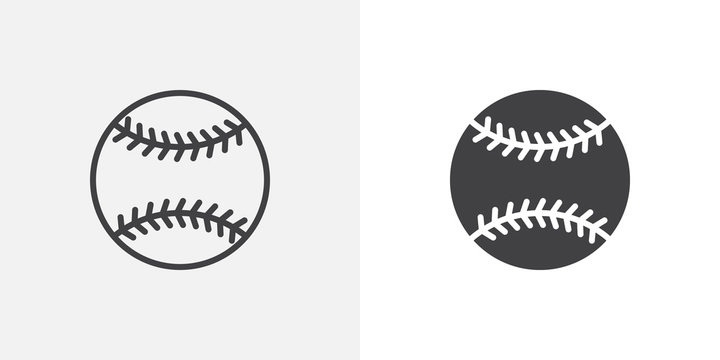 Baseball ball icon. line and glyph version, outline and filled vector sign. Baseball sport game linear and full pictogram. Symbol, logo illustration. Different style icons set