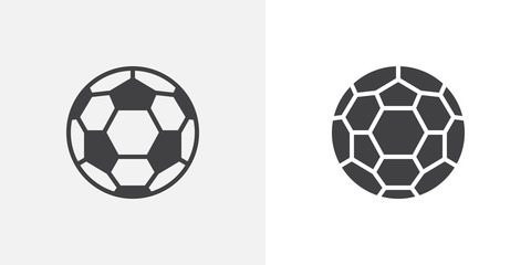 Soccer ball icon. line and glyph version, outline and filled vector sign. Football ball linear and full pictogram. Symbol, logo illustration. Different style icons set