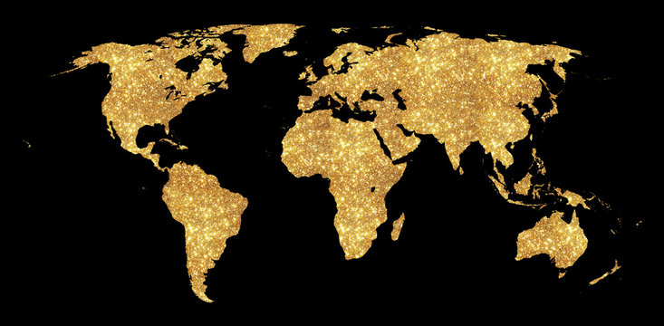 Golden world map concept illustration, gold planet geography icon made of golden glitter dust on black background.