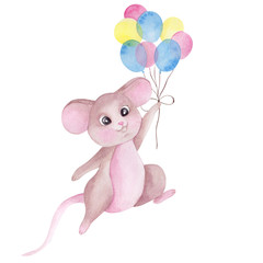Watercolor illustration with cute mouse