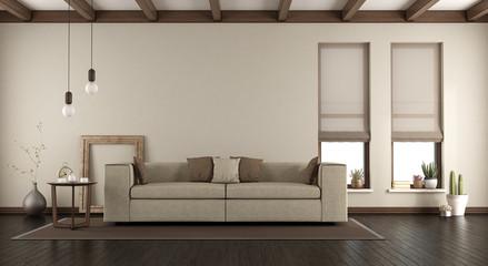 Elegant living room with sofa on carpet