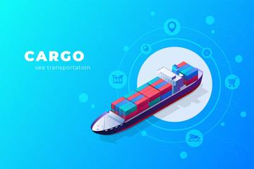 Fototapeta Isometric cargo ship container in the ocean transportation. illustration vector