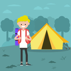 Poster Dogs Young charcter in the forest near by tent.Backpacker Flat cartoon design.Clip art