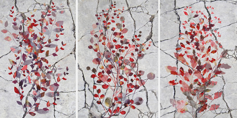 Collection of designer oil paintings. Decoration for the interior. Modern abstract art on canvas. Set of pictures with different textures . Decorative branches with red leaves.
