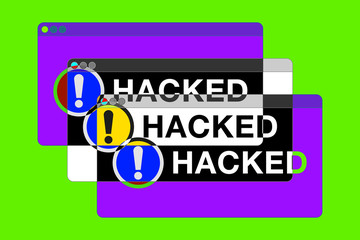 You hacked! More Error windows. Danger pages. Exclamation sign. Computer glitch. vector design for you technology projects