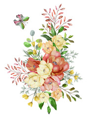 The watercolor drawing branches with leaves and flowers. Botanical illustration. Composition of roses and wild herbs. Yellow, peach roses.