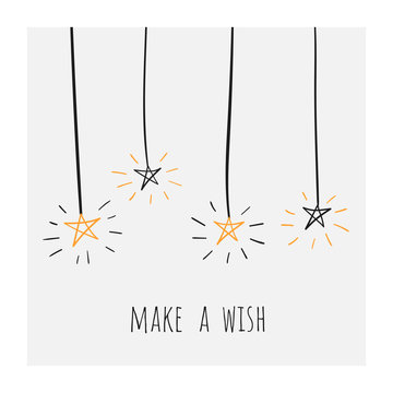 Make a wish poster, banner, card, postcard with shiny doodle hand drawn stars. Positive banner for birthday