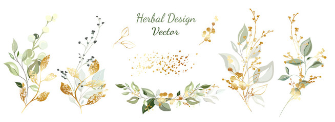 Twigs with gold and green leaves. Set: leaves, herbs, composition of gold and decorative elements.  Vector. Fototapete