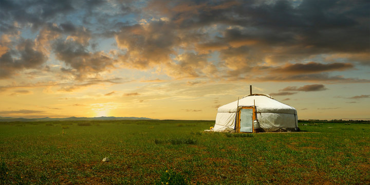 sunset on a yurt , in the grassland of Mongolia
