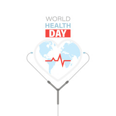 World health day vector illustration with doctor stethoscope and cardiogram icon
