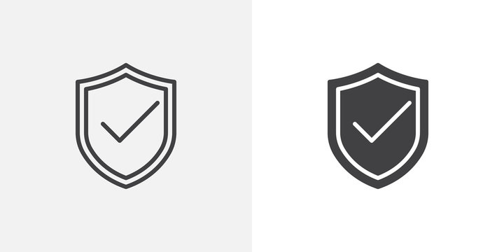 Security shield protected icon. line and glyph version, outline and filled vector sign. Shield with check mark linear and full pictogram. Symbol, logo illustration. Different style icons set
