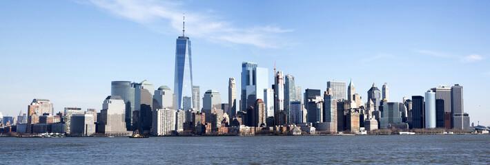 Panorama of the Manhattan skyline seen from Ellis Island