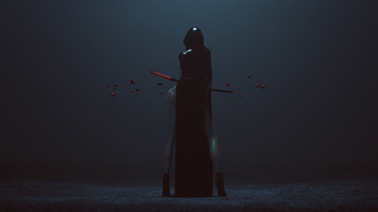 Futuristic Demon Nun In a High Split Dress Abstract Demon Assassin with Samurai Sword and the Power of Telekinesis Back 3d illustration 3d render