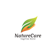 Colorful Modern Nature Leaf and Care Hand Logo Icon