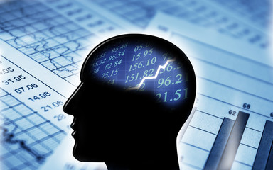 Man profile silhouette with brain stock charts. Finance concept.