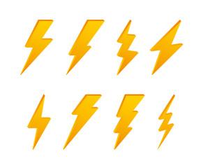 Set Lightning bolt. Thunder bolt, lighting strike expertise. Vector illustration.