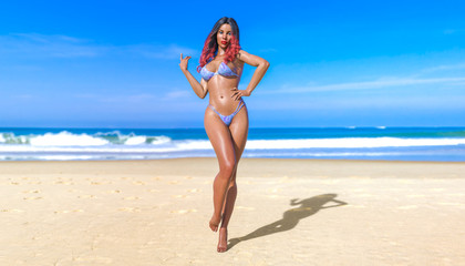 3D beautiful sun-tanned woman blue swimsuit bikini on sea beach. Summer rest. Blue ocean background. Sunny day. Conceptual fashion art. Seductive candid pose. Realistic render illustration.