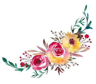 Watercolor flowers, Floral bouquet illustration, Botanical art for wedding design, invitation templat, prints, textile.