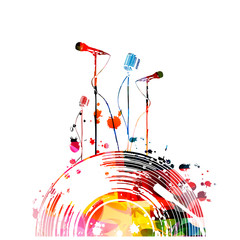 Music background with colorful vinyl record and microphones vector illustration design. Artistic karaoke poster, music festival poster, live concert events, party flyer